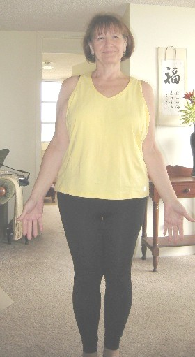 Same shirt – and if you look closely you can see there's a space between the tops of my thighs!