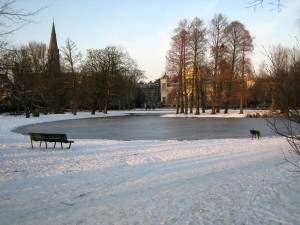 Beautiful Vondelpark in the snow.