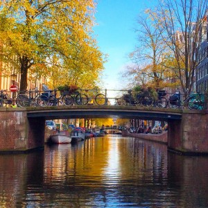Beautiful fall day on one of our canals in Amsterdam