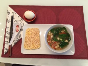 Lunch!  Miso soup, corn crackers, and a soft-boiled egg.